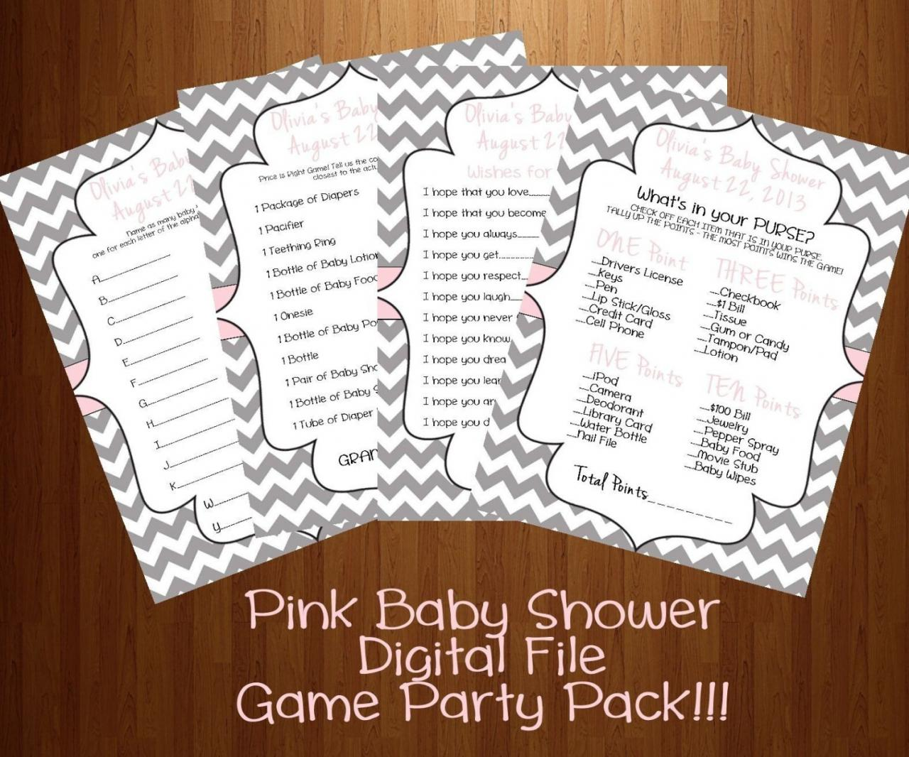 Baby Shower Games 4 Pack Blue Or Pink DIY (Digital File)