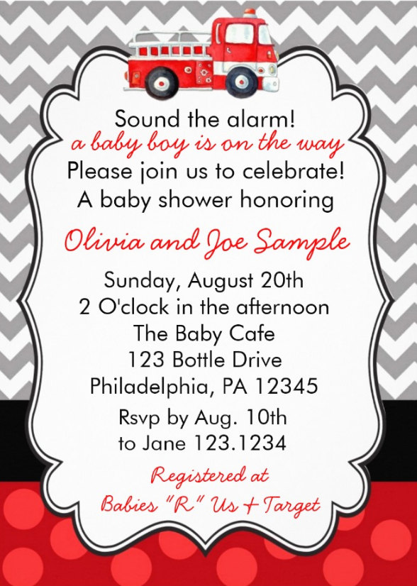 Firetruck baby shower invitation digital file on luulla firetruck baby shower invitation digital file stopboris Gallery