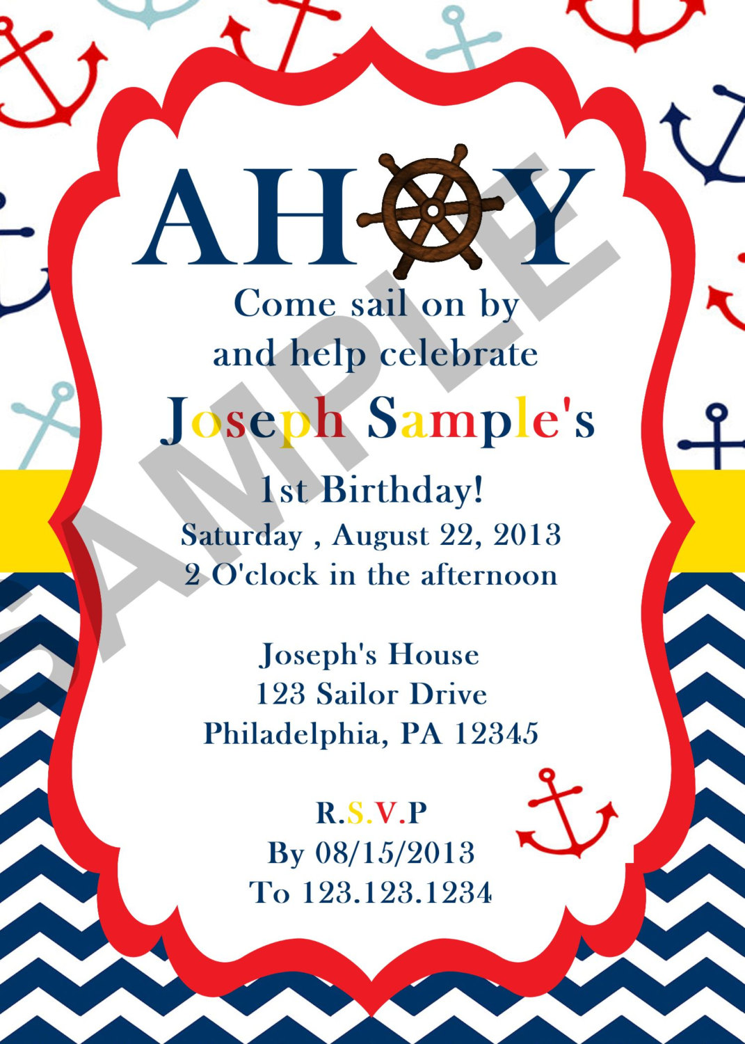 Nautical Sailor Birthday Invitation (Digital File) on Luulla