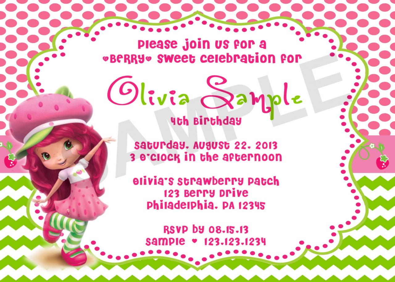 Strawberry ShortCake Birthday Invitation Digital File on Luulla