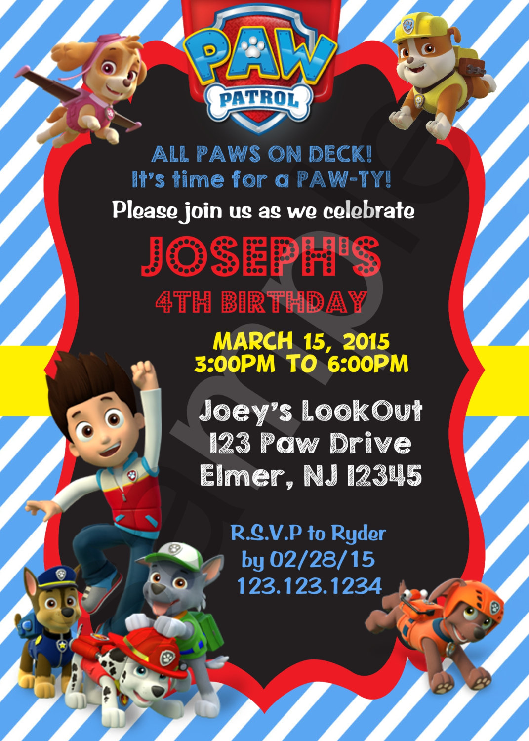 Paw Patrol Birthday Invitation Digital File
