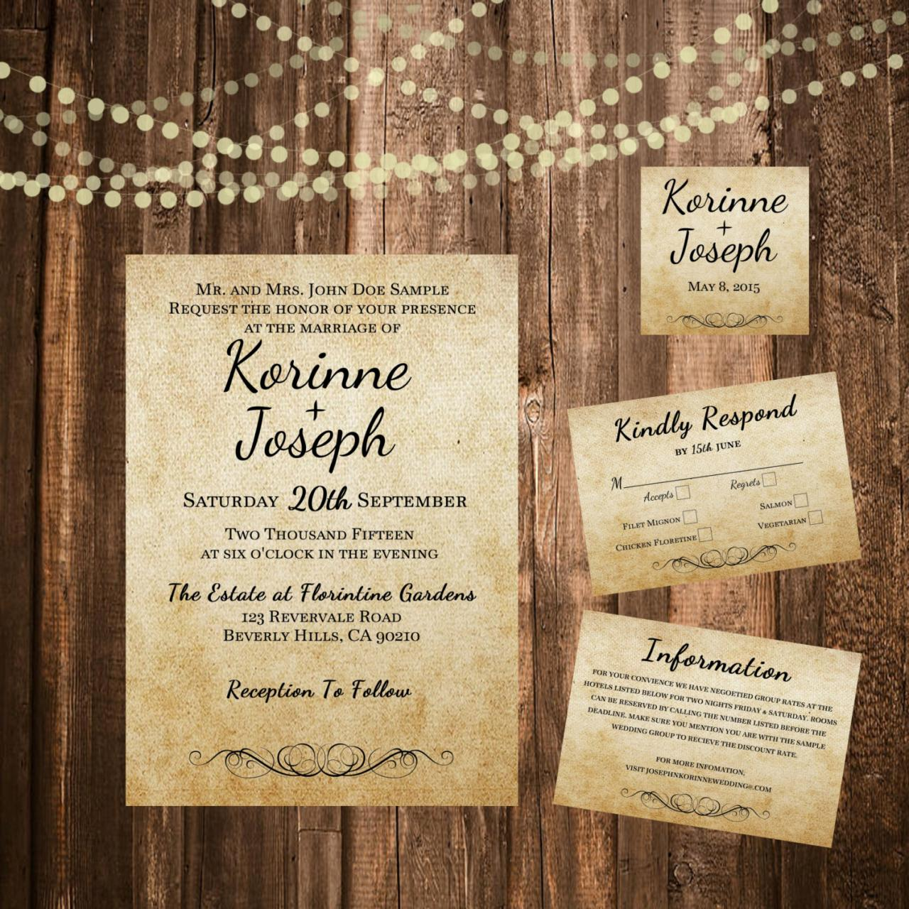 Burlap Wedding Invitation Shabby Chic Printable Set Minimalist Rustic Garden