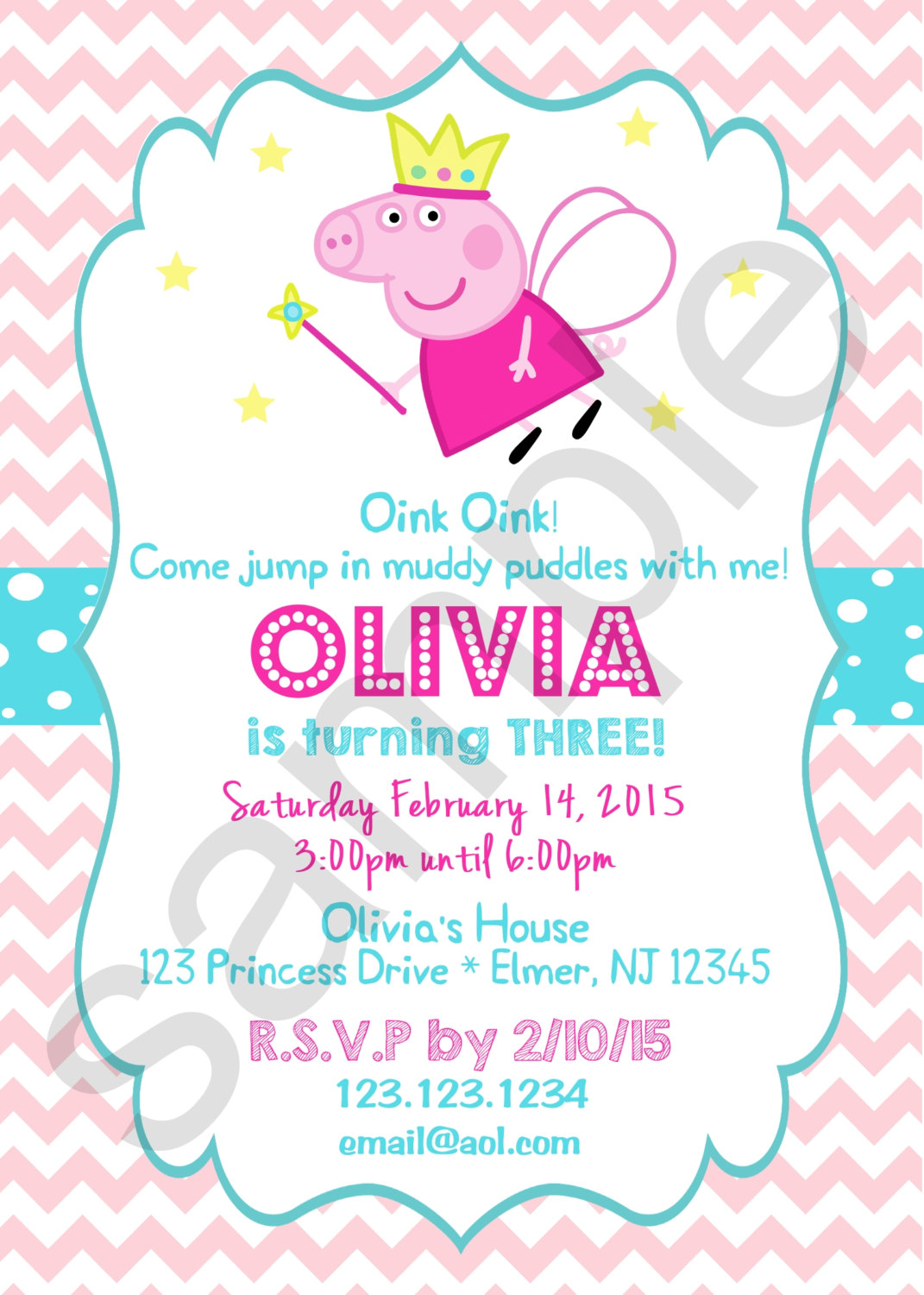 Peppa Pig Princess Birthday Invitation Digital File