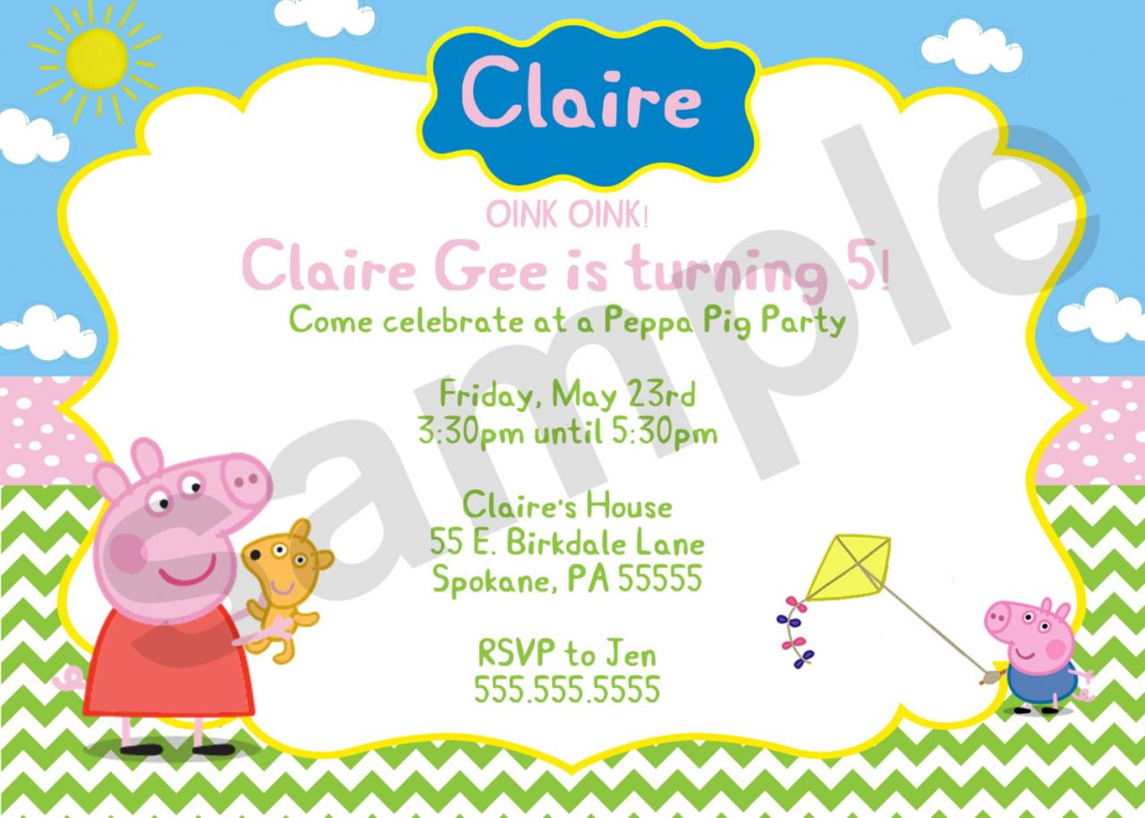 Peppa Pig Birthday Invitation (Digital File) on Luulla