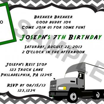 Big Rig Semi Truck Birthday Invitation (Digital File)