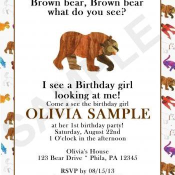 Brown Bear Birthday Invitation front and back (Digital File)