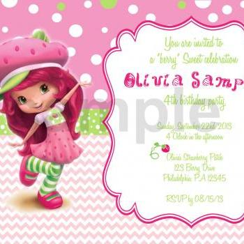 Strawberry ShortCake 2 Birthday Invitation (Digital File)