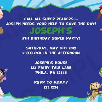 Super Why Birthday Invitation (Digital File)
