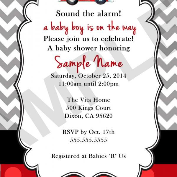 Fire Truck Baby Shower Invitation (Digital File)