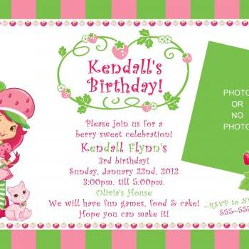 Strawberry Shortcake Birthday Invitation ( Digital File )